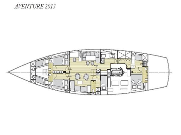 Ketch Classic Yacht 28m - Layout