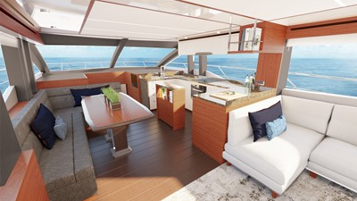Johnson 70' Flybridge M/Y 2 Galley and Dining