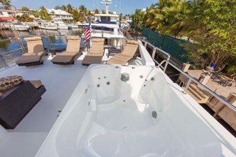 GOLDEN TOUCH 49 BOAT DECK - Looking aft  - Davit & Lounge Chairs