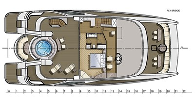 Catamaran fly bridge motor yacht 22m layout