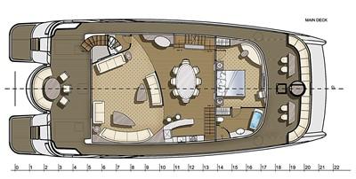 ACURY CAT 22 V1 12 Catamaran fly bridge motor yacht 22m layout