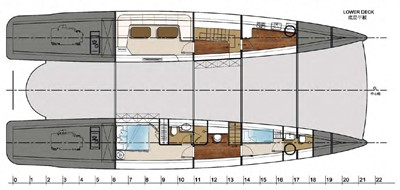ACURY CAT 22 V1 15 Catamaran fly bridge motor yacht 22m layout