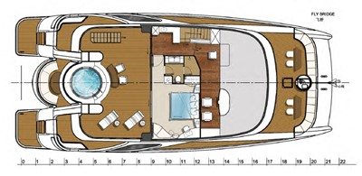 ACURY CAT 22 V1 16 Catamaran fly bridge motor yacht 22m layout