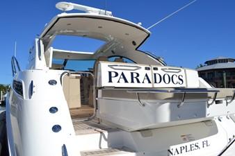 PARADOCS 9 Swim Platform Looking up through transom and hardtop Sun Roof