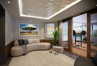SeaXplorer 60 24 Damen Yachting SeaXplorer 60 Main Deck Aft fitness zone lobby by H2 Design
