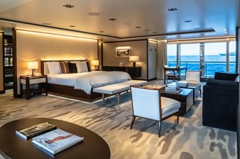 Master Stateroom Looking Forward through Sliding Glass Doors