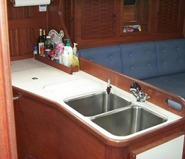 Galley with double sinks and generous counter space