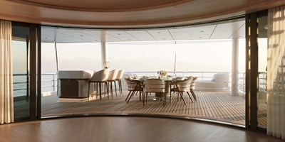 Amels 242 Owners Deck Lounge sliding doors to aft deck dining