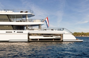 Amels 242 Tender Garage fro two luxury boats
