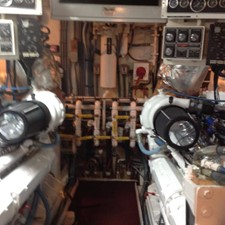 ENGINE ROOM - Looking Aft at Aft B/Head & Racors