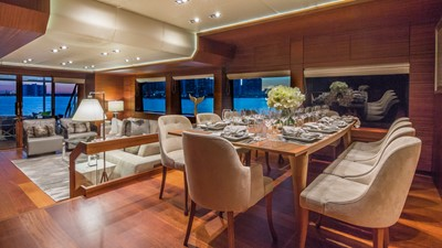 Dining: MONI 107' 2013 Vicem Motor Yacht