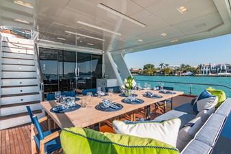 Aft Deck Dining: MONI 107' 2013 Vicem Motor Yacht