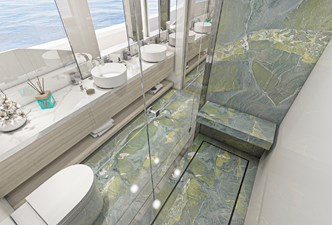 HL Master Bath with Avocado Leather Marble
