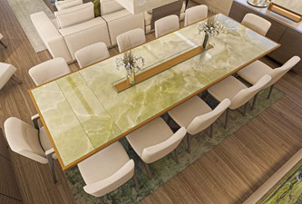HL Dining Table in Green Bamboo Marble