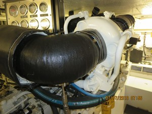 Engine room- new risers on main engines installed 7/19
