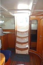 Looking aft towards stairs to cockpit, midcabin stateroom