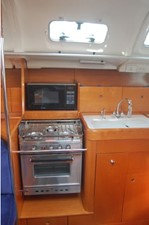 Galley Stove, Oven, Microwave, Sink, storage