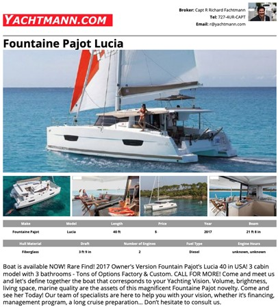 2017 Fountaine Pajot 40 - For Sale in the SE USA