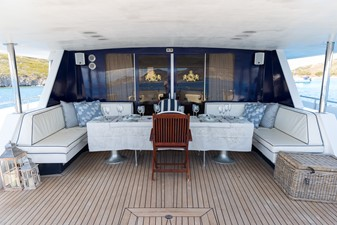 Enigma Blue for Sale - Aft deck dining table