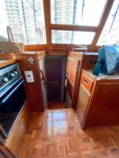 Forward  companionway, center windshield opens