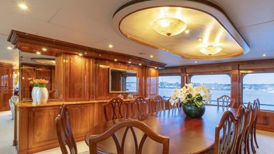 DINING: ONE MORE TOY 155' 2001/2018 Christensen Tri-Deck Motor Yacht