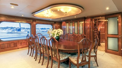 DINING ROOM: ONE MORE TOY 155' 2001/2018 Christensen Tri-Deck Motor Yacht
