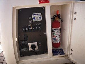 Aft Deck Battery Switch and Fire Extinguisher