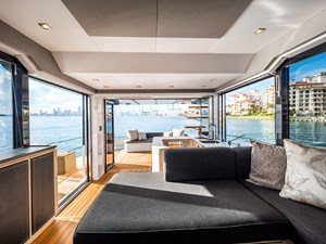 Salon opened to side and aft decks