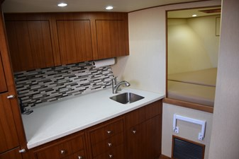 Teak galley cabinetry