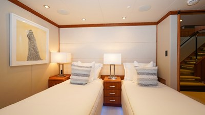 Lower Port Forward Stateroom in twin configuration