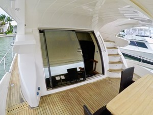 Aft deck with side decks, stairs to bridge