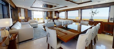 Sunseeker 30 Metre Yacht - Saloon Dining - Tuppence