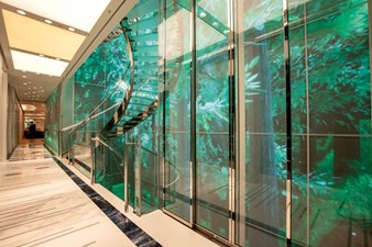 Main Staircase and 18m High Interactive Foyer Panels, Elevator Adjacent
