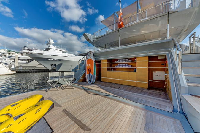 Benetti Veloce 140 Enormous Swim Platform with Beach Club and Tender Garage