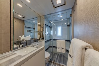 Benetti Veloce 140 ensuite head in every stateroom