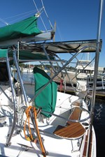 Arch and solar panel support, stern seats