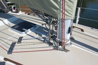 Mast base showing lines leading aft
