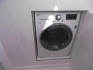 Washer dryer with door in shower