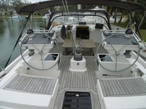 Twin helms and easy walk through from cockpit to aft deck