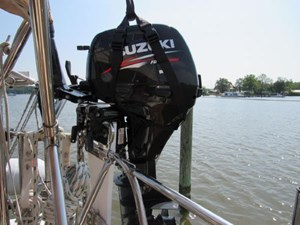 Outboard on bracket with hoist