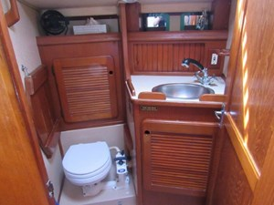 Aft head with Folding Shower Seat