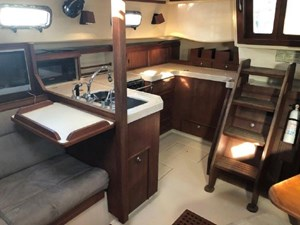 Galley and a folding table