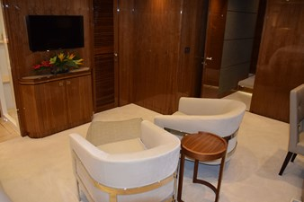 Master stateroom TV and chairs