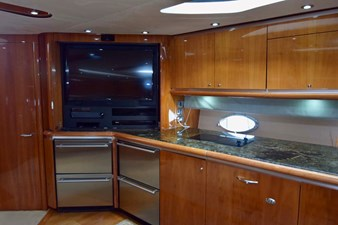 Galley with Flat Screen TV Open Doors