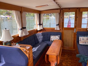 Main Saloon with drop leaf teak yacht table