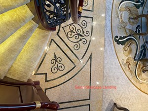 Lower-Staircase Custom Marble Inlay