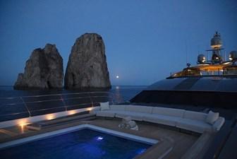 Saltwater pool at night