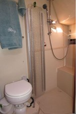 Head showing shower stall door