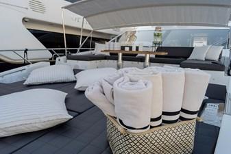 Sunbathing cushions on bow