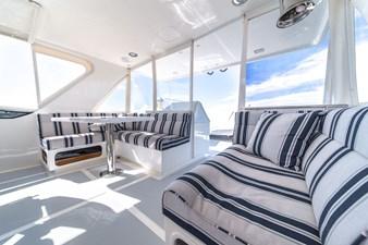 Flybridge seating facing starboard